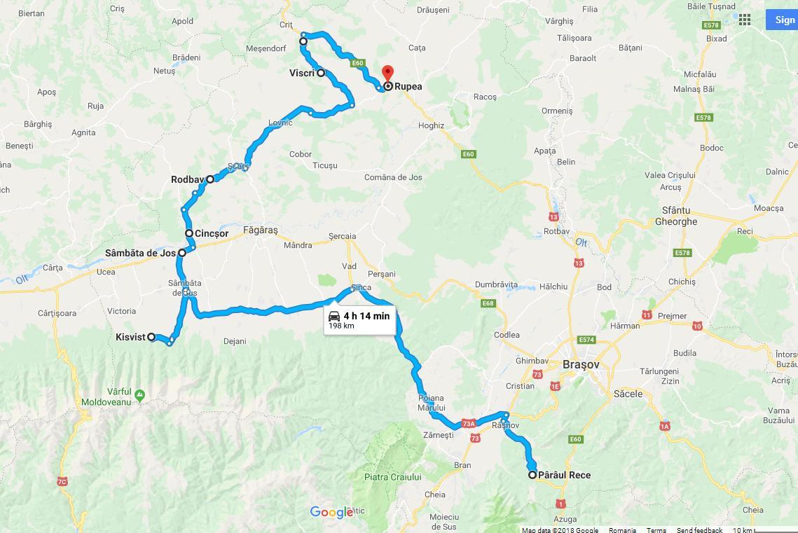 Traseul. Exceptând drumul dinspre şi spre Bucureşti