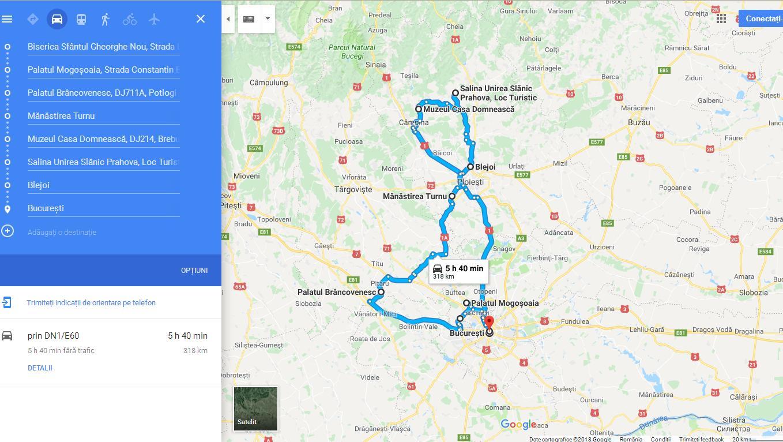 Harta traseu Pe urmele lui Brâncoveanu