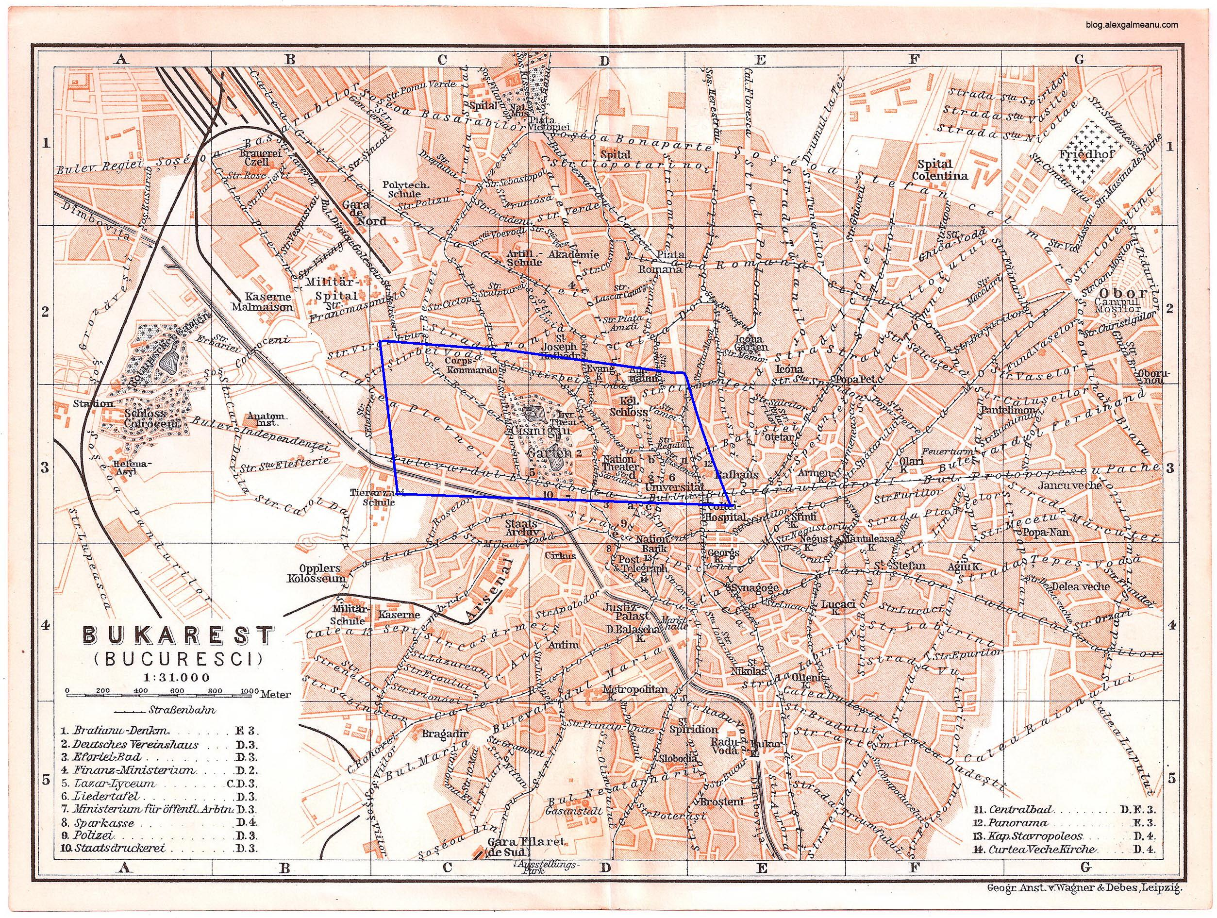 Harta Bucureştiului la 1900 cu vechiul traseu al Străzii Berzei