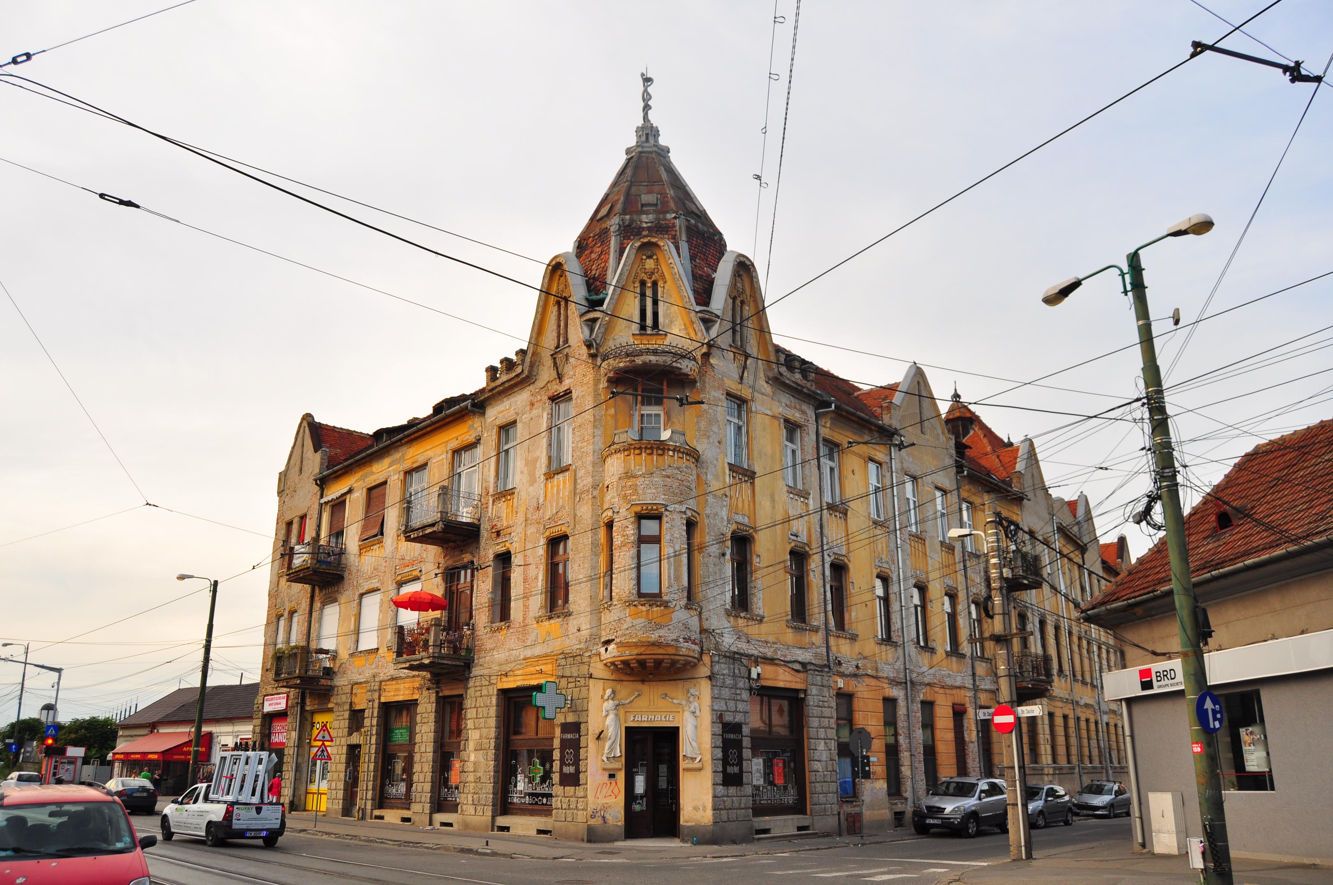 Palatul Nagele situate pe Strada Dacilor în apropiere de Piața Traian. Timișoara