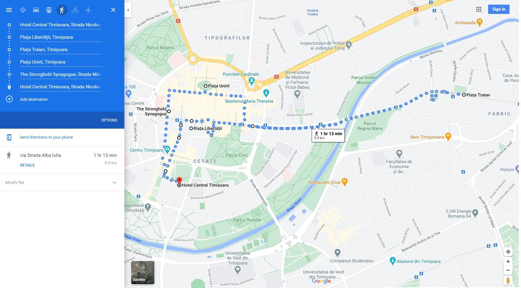 Traseu pietonal Timișoara